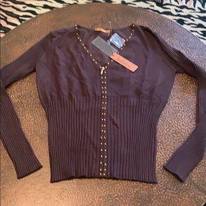 Belldini  chocolate zip up sweater!!! New!!!!